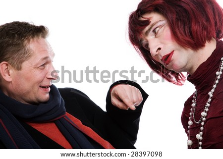 Man and woman quarrel because of the money on a white background - stock photo