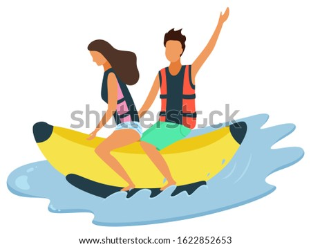 Man and woman riding on inflatable banana on sea, waters splashes isolated. Husband and wife in aquapark, leisure activity, extreme recreation attractions
