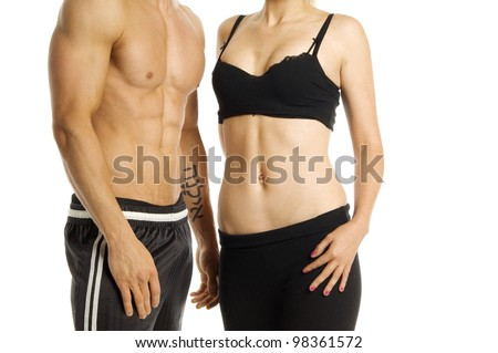 Man and woman's torso isolated on a white background