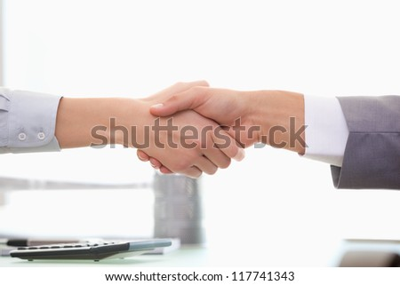 Man and Woman shaking hands in  an office - stock photo