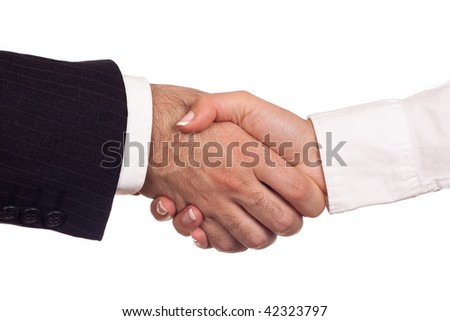 Man and woman shaking their hands in a greeting act