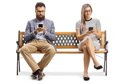 Man and woman sitting on a bench and typiing on mobile phones isolated on white background