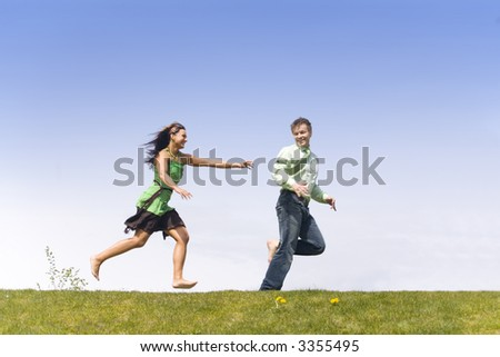 Man and woman spending summer day