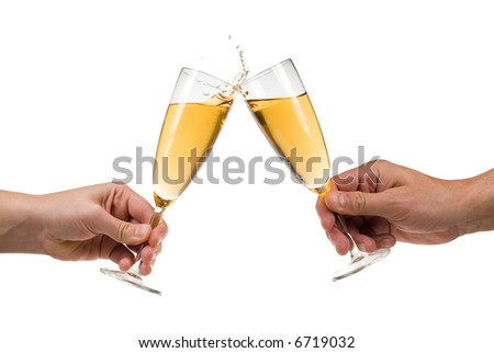 Man and woman toasting champagne with splash isolated on a white background
