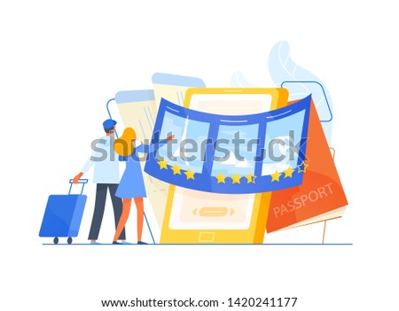 Man and woman tourists standing in front of giant smartphone and choosing trip or journey destination for their vacation, places to visit. Travel or touristic service. Flat illustration