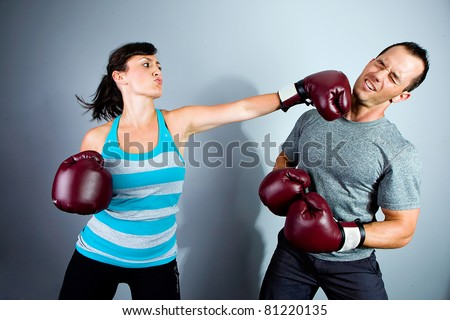 Man and Woman training for Boxing Match
