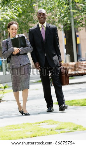 Man and woman walking together