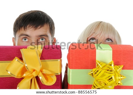 man and woman with a gift box. Isolated on white background