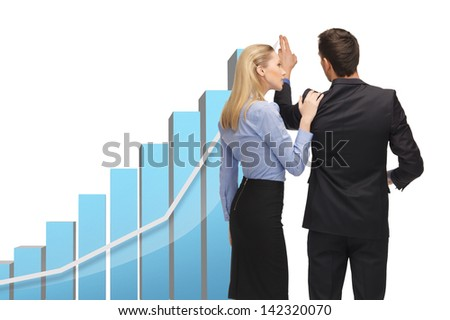 man and woman with big 3d graph