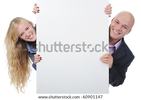 man and woman with large blank. Isolated on white background