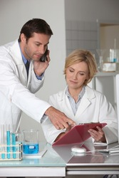 Man and woman working in a laboratory