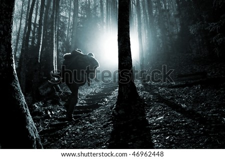 man and women in foggy forest