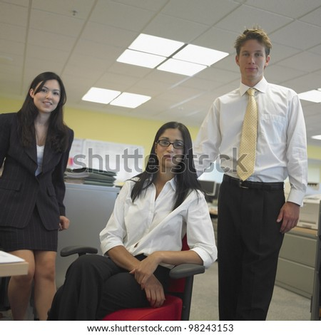 Man and women in office