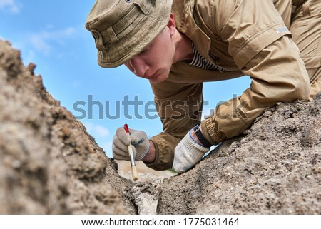 man archaeologist or paleontologist gently cleans the fossil bone found in the ground with a brush                Foto d'archivio ©