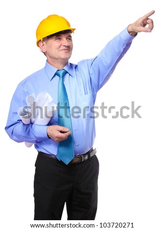 man architect with helmet and drafts showing with copy space for your text isolated on white