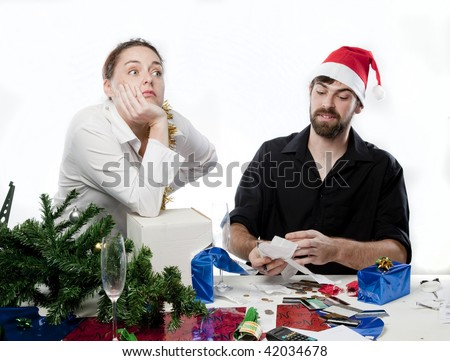 Man arguing with his wife about her Christmas spending