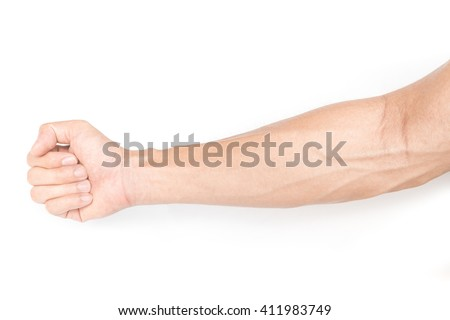 Man arm with blood veins on white background