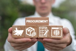 Man arranging wooden blocks with supply chain and retail logistics icons. Procurement Management Industry concept.