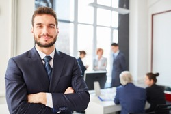 Man as self confident consultant entrepreneur with competence