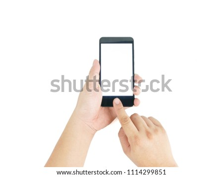 Man asian hand holding vertical the black smartphone with blank screen for text, isolated on white background. #1114299851