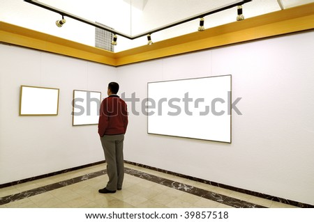 Man at Art Gallery.This is my self portrait.