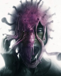 Man attacked by coronavirus, concept art. blur effect, dramatic light, green and pink color tone, isolated background, man half covered with virus.
