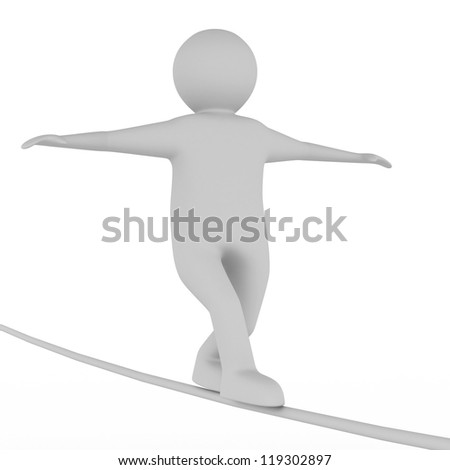 man balances on rope. Isolated 3D image