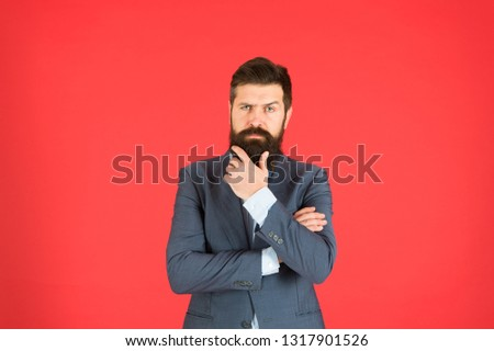 Man bearded businessman thoughtful face solving problem making decision. Decision making is part of management. Mental process of choosing from set of alternatives. Hard decision. Business decision. #1317901526