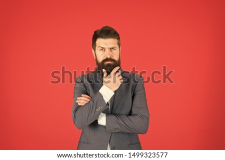 Man bearded businessman thoughtful face solving problem making decision. Decision making is part of management. Mental process of choosing from set of alternatives. Hard decision. Business decision.
