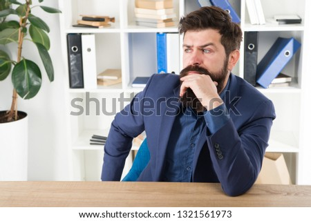 Man bearded businessman thoughtful face solving problem making decision. Mental process of choosing from set of alternatives. Hard decision. Business decision. Decision making is part of management.