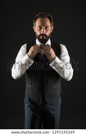 Man bearded guy wear white shirt and classic vest outfit. Formal outfit. Elegant outfit mature man. Take good care of your silhouette. How to dress for your age. Elegancy and male style. Classy style. #1291145269