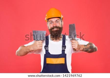 Man bearded laborer repairing in workshop. Foreman inspector. Repair and renovation. Engineer architect. Guy worker in hard hat. Builder regular worker in helmet hold tools. Quick repair. Repair tips.