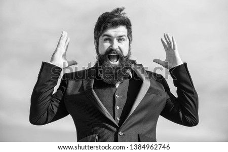 Man bearded optimistic businessman wear formal suit sky background. Success and luck. Optimistic mood. Think like optimist. Being optimistic. Hopeful and confident about future. Unexpected luck.