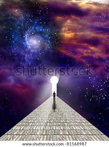 Man before keyhole with starry background - stock photo