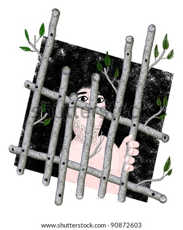 man behind wood bars