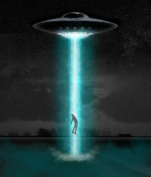Man being abducted by UFO - alien abduction concept