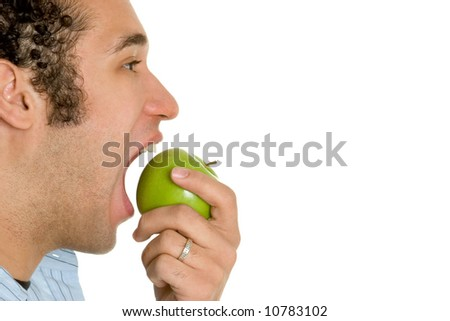 Man Biting Apple