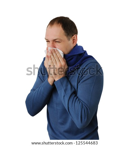 Man blowing his nose isolated on white background