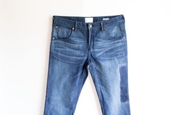 Man blue jeans one white background. fashion jeans concept.