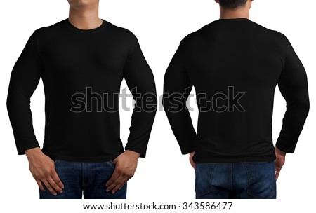 man body in black long sleeves t-shirt isolated on white background, front and back.
