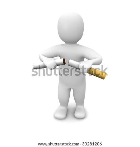Man breaking cigarette. 3d rendered illustration. Isolated on white.