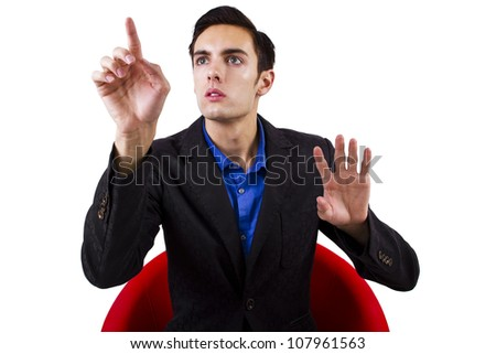 man browsing an imaginary touch screen (for composites)