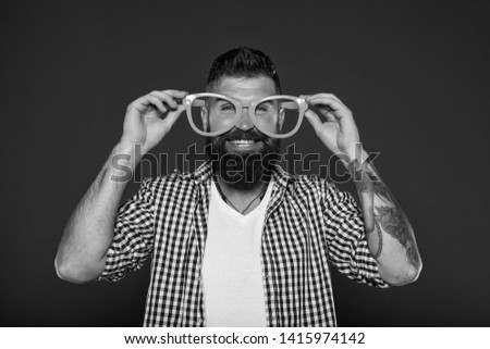 Man brutal bearded hipster wear funny eyeglasses accessory. Human strengths and virtues. Positive mood. Positive psychology. Overcome life troubles with smile. Happiness and positive. Stay positive.