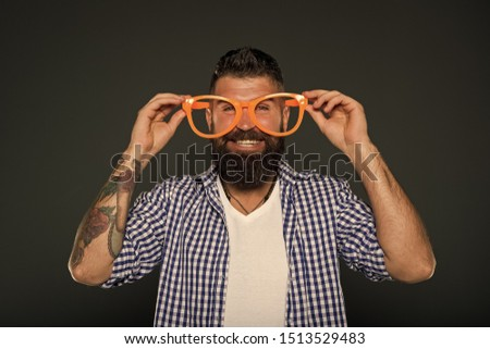 Man brutal bearded hipster wear funny eyeglasses accessory. Human strengths and virtues. Positive mood. Positive psychology. Overcome life troubles with smile. Happiness and positive. Stay positive. #1513529483