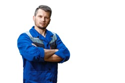 Man builder in a robe, overalls on a white background. Isolate, copy space.