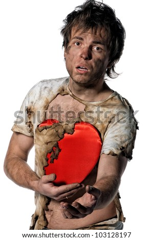 Man burnt of love with heart over white background