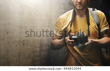 Man Camera Photographer Laptop Photography Concept