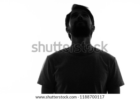 man cant head back, dark silhouette on a light background                               #1188700117