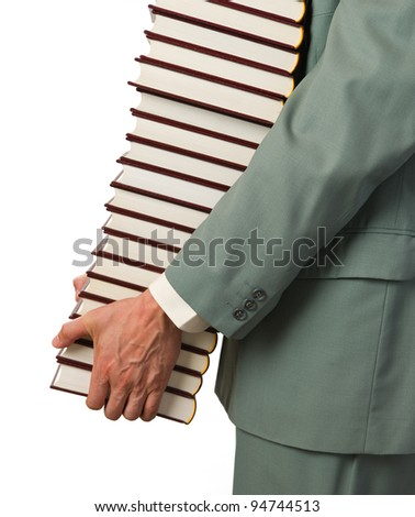 Man carries several books, white background.