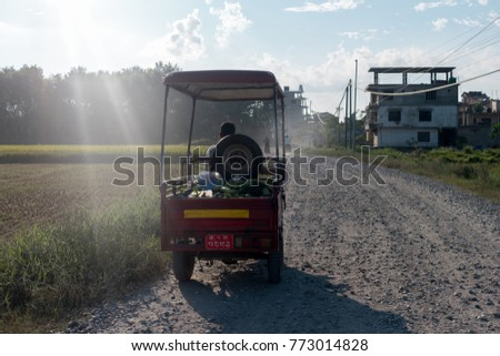 Man carries vegetables on his tuk tuk car, Nepal #773014828